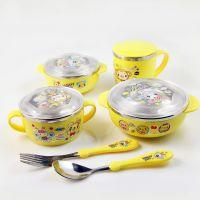 韩式儿童不锈钢餐具 婴幼儿餐具不锈钢碗勺子杯子宝宝餐具6件套