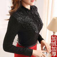 加绒加厚秋冬装新款韩版大码女装上衣蕾丝打底衫长袖蕾丝衫