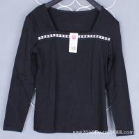外贸库存尾货原单女士长袖T恤打底衫黑色女装打底衫清仓处理批发