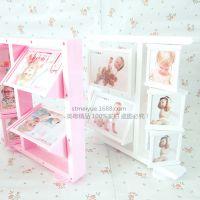 新品包邮5寸2寸儿童旋转相框三角创意婚纱相框摆台15张照片组合框
