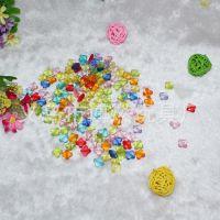 热销供应七彩塑胶透明珠 亚克力透明珠 4角花手工串珠 量大价优