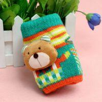 冬季儿童保暖手套 寒天精品卡通可爱熊头无指手套 盒装手套 C6001