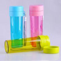 迪士尼杯子 简约纯色带滤网便携塑料杯 杯子批发