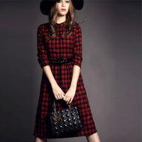 2014秋冬新款苏格兰立领复古修身红格子中长裙毛呢连衣裙女七分袖