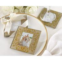 婚庆结婚礼物婚礼回礼黄色花纹相框玻璃杯垫餐垫
