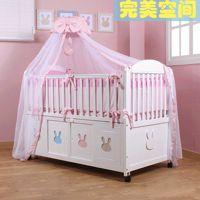 【可爱兔】韩国环保欧式婴儿床实木白色多功能出口宝宝床童床热卖