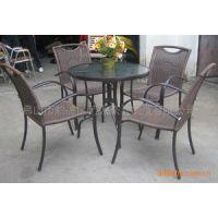 供应铝框架咖啡桌椅 户外桌椅 庭院户外藤桌椅 钢化玻璃桌 圆藤桌椅 圆桌水纹钢化玻璃桌 咖啡桌椅