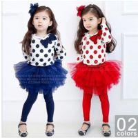 2014新款套装 韩版女童假三件套装 打底衫裙裤套装 长袖蓬蓬裙裤