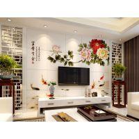 供应彩虹石艺术彩雕瓷砖电视背景墙—富贵有余