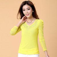 2014秋季新款韩版大码修身网纱t恤女长袖双层面料时尚烫钻打底衫