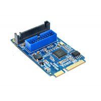 mini pcie转usb3.0转接卡 工控机mini itx主板扩展双口USB3.0扩展卡