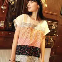 14年 日系文艺复古森系女装打底衫碎花蕾丝拼色森女系T恤