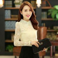2014秋装新款韩版女装上衣长袖蕾丝打底衫钉珠娃娃领女T恤潮