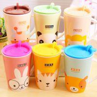 3675韩国餐具卡通萌物陶瓷杯 萌兔早餐咖啡牛奶杯子水杯带盖批发