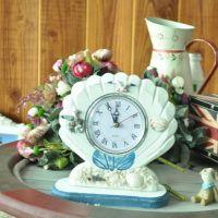 新款上市地中海风格装饰座钟 工艺钟表 小孩房装饰 贝壳镜框钟
