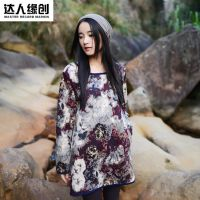 新款棉麻文艺打底衫大码女装民族风宽松修身中长款印花T恤