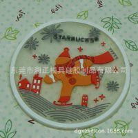 厂家供应时尚礼品杯垫卡通滑雪公仔软胶杯垫