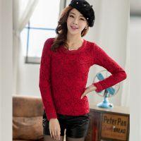 韩国代购秋冬款加绒加厚 韩版修身长袖蕾丝衫打底衫 女装