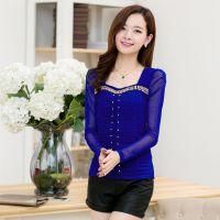 2014秋季新款蕾丝雪纺拼接打底衫女韩版长袖T恤钉珠上衣