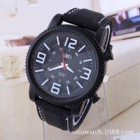厂家货源 速卖通热卖 QF男士复古数字硅胶手表 大表盘男士休闲