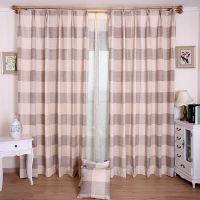 新款产品横条半遮光窗帘布 棉麻布艺 卧室工程面料窗帘 厂家直销