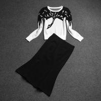 2014欧洲站明星高圆圆同款丹顶鹤套装毛衣+鱼尾裙套装