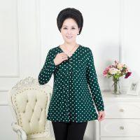 中老年女装秋季新款民族风针织印花长袖t恤中年女装长袖打底衫