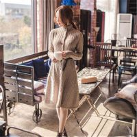 韩国代购同款 秋冬修身长款高领麻花长袖毛衫连衣裙