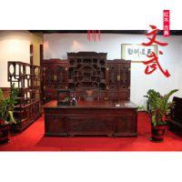 红木老挝大红酸枝木家具/实木书桌柜博古架办公桌书房组合五件套