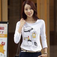 2014韩国女式大码T恤 时尚印花烫钻新款长袖纯棉打底衫t恤女批发