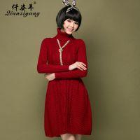 8316秋冬新款高领中长裙欧美纯色羊毛灯笼裙长袖女粗针麻花连衣裙