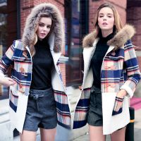 2014冬新款女欧美格子真毛领带帽棉大衣 大码加厚羊羔毛呢外套