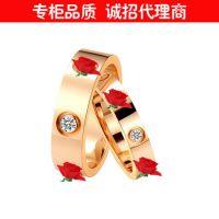 欧美经典三钉三钻戒指 18k玫瑰金情侣对戒 男女尾戒窄钻戒批发