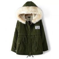素颜 2014冬装新款大毛领军工款羊羔绒加厚 女式棉服