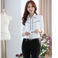 春秋装新款韩版女装衬衣雪纺上衣 打底衫宽松职业装长袖衬衫