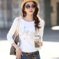 2014秋装新款 韩版修身显瘦纯棉大码长袖t恤女士打底衫
