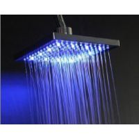 LED发光顶喷淋浴、LED温控发光变色方形8寸顶喷深圳正规工厂