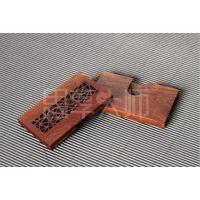 供应古典木质名片盒,套装商务礼品,花梨实木名片盒-棂花款