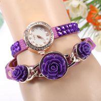 2015新款速卖通手表水晶玫瑰绕圈手表时尚女士镶钻手表7色