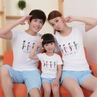 2014夏装新款一家三口亲子装韩版短袖短裤母子装母女装家庭装
