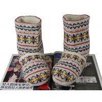 韩国时尚家居鞋室内靴 女款棉拖鞋 冬季保暖针织靴 室内棉鞋批发