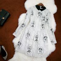 2014欧美秋冬纯棉印花立领波浪条纹娃娃领长袖连衣裙明星同款6753