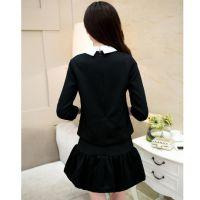 2014秋新款 欧美大码娃娃领订珠两件套长袖连衣裙套装 女8302