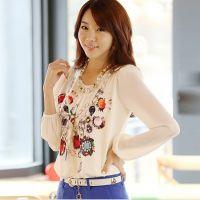 供应2013春装新品韩版大码印花修身雪纺衫打底衫上衣衬衫长袖女
