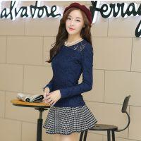 实拍秋装新款女t恤加绒蕾丝打底衫韩版修身显瘦圆领上衣