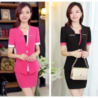 供应职业套裙 女式韩版修身 短袖外套包臀裙两件套正装工作服 批发