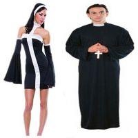 万圣节 化装舞会服饰 cosplay服装 表演装扮新款师服 性感修女服
