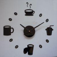 新款DIY 亚克力钟  咖啡时光时尚墙钟