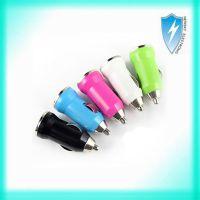供应子弹头USB手机车载充电器 带IC保护迷你车充 商务小礼品
