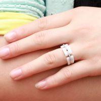 高档饰品批发 外贸首饰男女镶钻间纯银镀铂金 白色陶瓷戒指创意店